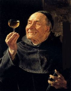 Monks looking at beer