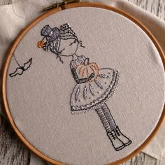 This cute girl has a gorgeous dress and a cheeky little hat. You can stitch her with a pumpkin for halloween or without for any occasion.  There are instructions for two versions of the girl, the first with a pumpkin in greys and silvers and the second without the pumpkin in pastel colours. The finished embroidery fits nicely into a six inch hoop but you can enlarge the pattern or make it smaller by using a photocopier.  There are quite detailed instructions in the pattern and lots of…
