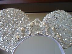 Orejas de Princesa con corona de cristal y pearlas