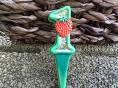 Strawberry number candle 4.00 by BabyBearCandles on Etsy