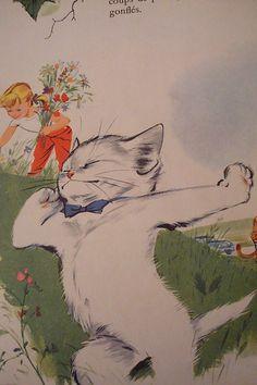 Arrêtons-nous un instant propose Caroline Vintage Illustrations, Picture Books, Children's Book Illustration, Vintage Children, Cat Love, Cat Art, Cats And Kittens, Illustrators, Basket