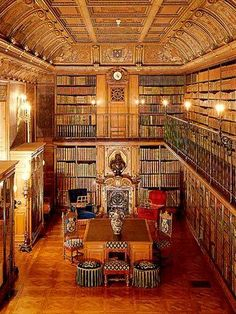 The library of the Duc d'Aumale, Château de Chantilly, France . Le Cabinet des livres contains items Beautiful Library, Dream Library, Library Bar, Library Bookshelves, Bookcases, Home Libraries, Reading Room, Book Nooks, Somerset