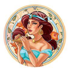 disney nouveau art | jasmine art nouveau. by ~audreymolinatti on ... | Disney Princesses ...