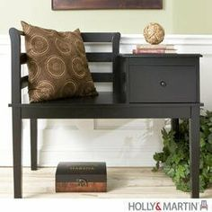 """Holly & Martin Yukon Gossip Bench - Black by Holly & Martin. $158.75. Solid wood construction.. Combination desk, chair, and telephone table.. Color: Black. Size: 33.25""""H x 38""""W x 20""""D. Sliding drawer in tabletop.. A true classic, this black gossip bench is great in entryways, bedrooms, or even kitchens. With a convenient place to sit, take your shoes off, write the grocery list, and talk on the phone, there is no doubt you will see why this traditional piece has s..."""