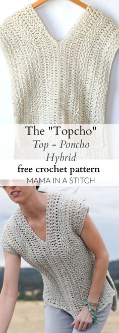 "The ""Topcho"" Easy Crochet Shirt Pattern via This beginner friendly crochet pattern is easy and includes picture tutorials. The ""Topcho"" Easy Crochet Shirt Pattern via This beginner friendly crochet pattern is easy and includes picture tutorials. T-shirt Au Crochet, Poncho Au Crochet, Pull Crochet, Crochet Shirt, Crochet Woman, Love Crochet, Crochet Crafts, Crochet Stitches, Diy Crafts"