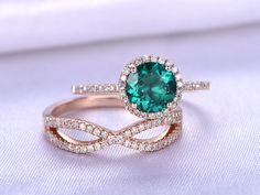 Wedding Ring Set,7mm Round Cut Emerald Engagement ring,Lab-treated Emerald,Diamond Wedding Band,14K Rose Gold,Bridal Ring Set