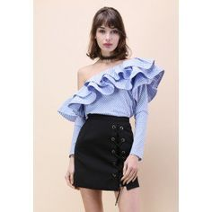 Swanky One-shoulder Ruffle Striped Top - Chicwish