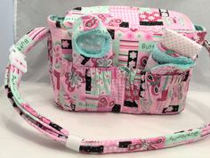 Doll size Diaper Bag and Optional Doll Carrier in Pink and Aqua Butterflies with Aqua Polka Dot Lining and all the goodies by GSRdolls on Etsy