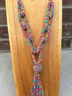 Multi Color Bead Seed Link Necklace With Tassel - NEK387MU