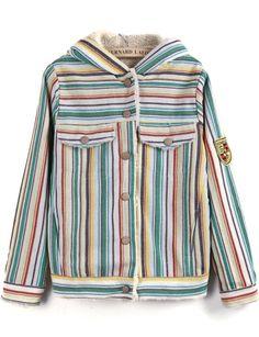Cazadora con capucha rayas bolsillos manga larga-amarillo EUR€29.98