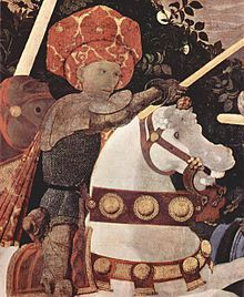 Niccolò Mauruzi da Tolentino at the Battle of San Romano (probably about 1438-1440), egg tempera with walnut oil and linseed oil on poplar, 182 × 320 cm, National Gallery, London.[2]