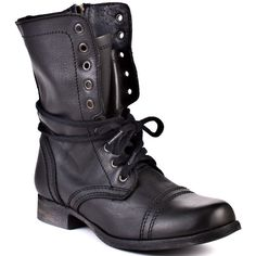 Steve Madden Troopa - Black Leather ($100) ❤ liked on Polyvore