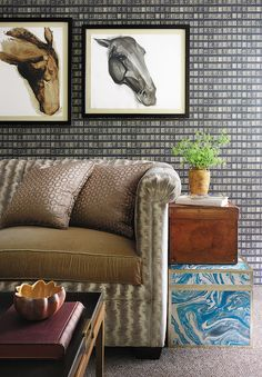 """""""I love wallpaper patterns that trick the eye — like this one, of vintage postage stamps,"""" Buckingham writes in her book"""
