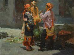 "Mian Situ (Chinese born American, 1953)  ""Market Day Meeting"""