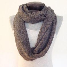 Warm jersey sweater knit gray infinity scarf/ made in by Msfiggys, $30.00