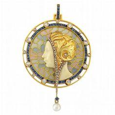 Art Nouveau Gold, Plique-a-Jour Enamel, Diamond, Sapphire and Pearl Pendant, ...