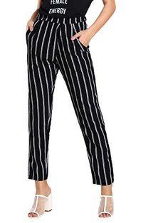 7a1a9652493 SweatyRocks Women s Striped Elastic High Waist Slim Fit Loose Casual Long  Pants