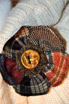scottish yellow red orange navy tartan wool brooch coat jacket pin corsage 10 cm