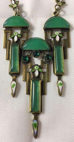 Antique Czech Czechoslovakia Neiger Art Deco Enamel Brass Link Pendant Necklace