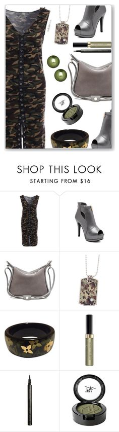 """Camo Dress"" by simona-altobelli ❤ liked on Polyvore featuring Louis Vuitton, Max Factor, Giorgio Armani, Beauty Is Life, Honora and vintage"