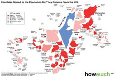 A map showing country size based on the amount of US foreign aid they receive