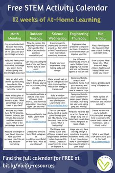 At-Home Offline STEM Activities Are you in need of offline STEM resources to send home during school closings? Check out this editable calendar that includes 12 weeks of daily STEM activities. Engage In Learning, Home Learning, Stem Activities, Learning Activities, Summer Activities, Indoor Activities, Family Activities, Calendar Activities, Family Games