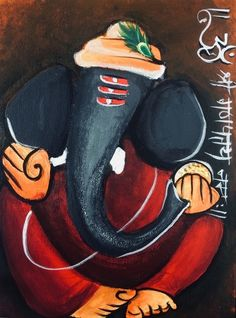 Ganesha Drawing, Lord Ganesha Paintings, Spiritual Paintings, Ganesha Art, Krishna Painting, Krishna Art, Madhubani Art, Madhubani Painting, Art Painting Gallery
