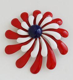 Vintage Enamel Pins | vintage enamel flower Brooch Pin red white blue patriotic