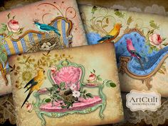 ROYAL BIRDS - 4 Great Greeting Cards - Digital Collage Sheet - Printable Download - Vintage Paper Craft