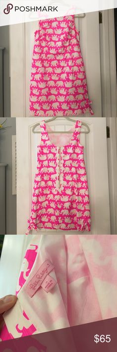 Lilly Pulitzer Delia shift dress, pink Tusk in Sun Pink Tusk in Sun print, size 0, worn one time Lilly Pulitzer Dresses