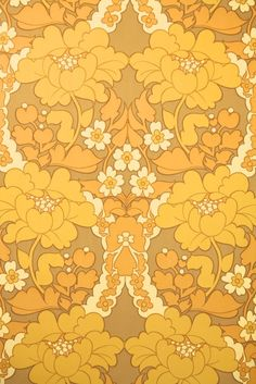 retro floral damask wallpaper, yellow vintage wallpaper from the 70s, Hannahs Treasures Vintage Wallpaper