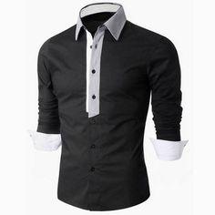 Designer Business Casual Solid Color Turn-Down Slim Fit Long Sleeve Designer Shirts for Men - NewChic Mobile. Slim Fit Casual Shirts, Men Casual, Gents Shirts, White Shirt Men, White Shirts, Men Shirt, Moda Formal, Pullover, Workout Shirts