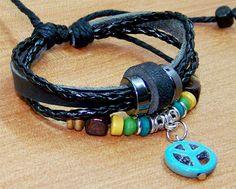 leather bracelets  cuff  wristband cotton Rope knit by edwinating, $6.99