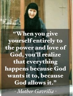 """""""When you give yourself entirely to the power and love of God, you'll realize that everything happens because God wants it to, because God allows it. Catholic Prayers Daily, Mom Prayers, Catholic Quotes, Religious Quotes, Spiritual Quotes, Gods Love Quotes, Love Yourself Quotes, Wise Quotes, Holy Quotes"""