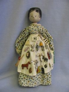 """11 ¾"""" PEG-WOODEN Early Peddler doll 1920s-Vintage Tiny Wares: Wood & Metal"""