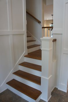 wood stairs with painted risers Craftsman Staircase, Craftsman Interior, Interior Trim, Staircase Landing, Winding Staircase, Staircase Design, Wood Stairs, House Stairs, Attic Stairs