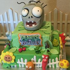 Plants vs. Zombies cake Zombie Birthday Parties, Zombie Party, 8th Birthday, Birthday Ideas, Plants Vs Zombies, Cake Creations, Cupcake Cakes, Cupcakes, Cake Decorating