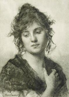 ameenn: Alexei Alekseevich Harlamoff (Saratov 1840 - Paris 1922) ,Portrait of a Young Woman
