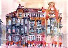 Apartment House in Poznan and orange umbrellas Canvas  Print  by Takmaj