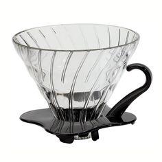 Coador de Café em Vidro Preto Hario V60-01 :: Delgrani.com.br