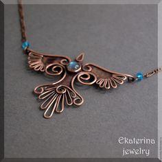 """Купить Подвеска с лабрадоритом """"Fly"""" - голубой, ekaterina jewelry, украшения таганрог, птица, птичка"""