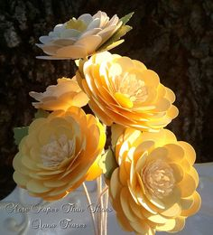 Paper Flowers - Handmade - Stemmed Daisy - Custom Orders - Wide Variety Of Colors - Wedding - Birthday - Special Events - Set of 12