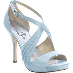 The feminine straps accentuated with flat crisscross pleating over the instep to create an eye-catching platform sandal and provide the comfort that security brings. Not dyeable.
