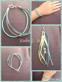 Tassenhanger en armband in dezelfde kleurstelling.