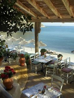 Beach Restaurant in Mykonos island