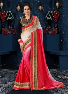 Classy Red And White Shaded Lace Patch Border Work Party Wear Saree http://www.angelnx.com/Sarees
