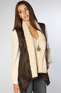Jack BB Dakota The Jesca Faux Leather and Suede Fur Vest in Dark Brown : Karmaloop.com - Global Concrete Culture