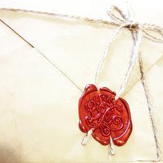 DIY rustic vintage wedding invitation with wax seal