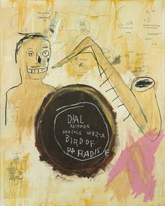 """""""Jean-Michel Basquiat  Bird of Paradise  1984  acrylic, golden acryclic, oil stick and paper collage on canvas.  """""""