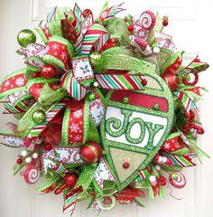 Christmas Wreath Joy Holiday Wreath Deco Mesh by NicoleDCreations
